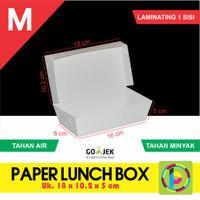 Paper Lunch Box / Kotak Makan Polos Ukuran M + Laminating Dalam