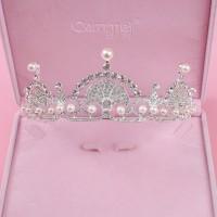 Pengantin wanita Pearl Bridal Kalung Anting Perhiasan Set Gading Warn