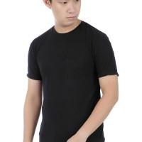 MURAH baju Kaos polos premium keren pria Katun Long Resleting 6O Hitam