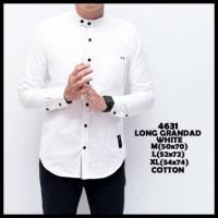 Diskon! Kemeja Katun Pria Lengan Panjang Putih Polos Model Baju Koko