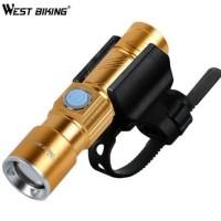 Senter Lampu LED USB Recharger Untuk Bersepeda WEST BIKING
