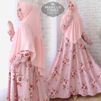 pink hitam gamis maxi baju pakaian muslim wanita 2xl bigsize big size