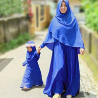 BAJU MUSLIM COUPLE IBU DAN ANAK PEREMPUAN BIRU