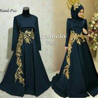 Gaun Muslim Glamour Dress Maxi Grane/Baju Muslim Pesta XL