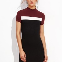 Knitted Bodycon Dress Neck Ribbed Duo Tone