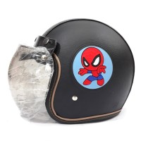 Helm Bogo Anak Remaja Full Kulit Motif Spiderman