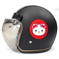 Helm Bogo Anak Remaja Full Kulit Motif Hello Kitty