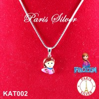 Kalung Anak Liontin Anna Frozen Elsa Silver Perak 925 lapis emas putih