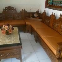 Kursi tamu mewah elegan asli kayu jati Diskon