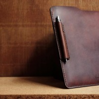 CUSTOM NAMA/ LOGO - Notebook Pouch ( Pull Up Usa Leather)