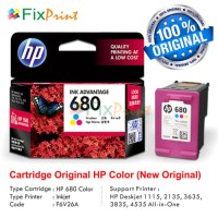 Cartridge Tinta HP 680 Color Printer 1115 1118 2135 3635 4675 Original