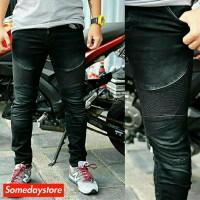 TERBARU Celana No Denim Biker Black Wash Skinny Jeans Strech Celana P