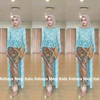 long kebaya wisuda modern azalea muslim + rok batik