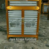 RAK SEPATU/SANDAL dari aluminium dan kaca Tiang Warna emas