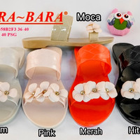 jelly sandal bara bara sendal wanita bunga kaca karet import 0358
