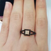 cincin emas asli kadar 875 model permata hitam putih
