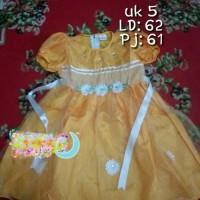 Baju pesta dress bayi perempuan 4 5 tahun gaun kuning dres anak balita