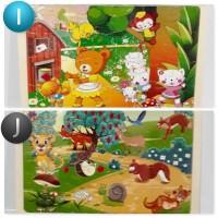 Jigsaw Puzzle Kayu 24Pcs Gambar Cantik I-J  Murah