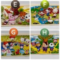 Jigsaw Puzzle Kayu 24Pcs Gambar Cantik E-F-G-H  Murah