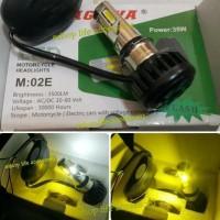 Promo Lampu Utama Depan Motor Led 6 Sisi 2 Warna Putih Kuning 35 Watt