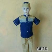 Baju Setelan Koko Anak Laki - laki Biru Celana Lengan Pendek SAK 012 T