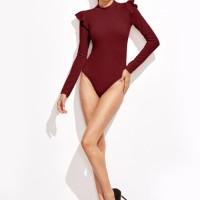 Bodysuit Mock Neck Frill Trim Long Sleeve Burgundy