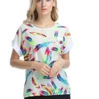 Women Blouse Top Short Sleeves Colourfull Feather Prints