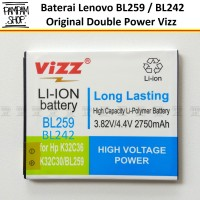 Baterai Vizz Double Power Original Lenovo BL242 A6000 A6000+ Plus
