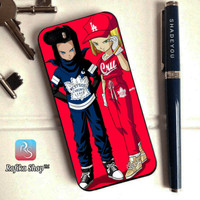 Custom case dragonball super android 17 n 18 iphone 5s 6 6s 7 8 x