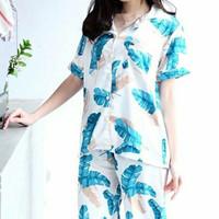 Baju Tidur Piyama Satin Celana Panjang Wanita Seri 'Malibu' White