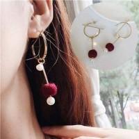 IMPORT Korea Anting Pompom Lingkaran Mutiara Earrings 027737r/5r/2r
