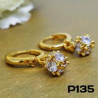 P135 Anting Kubus Kristal Zirconia Perhiasan Imitasi Xuping Lapis Emas