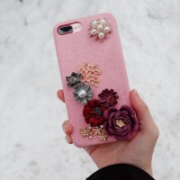 casing hp handphone iphone android 3d flower case pink red white merah