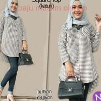 54714 square top/baju tunik murah/kemeja kantor wanita/atasan muslim
