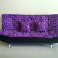 Sale Murah Tangerang Sofa Bed Pillow Ungu Motif