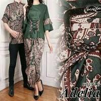 aop gamis batik couple adelia HIJAU cp SARIMBIT / baju pria wanita