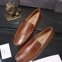 Sepatu kulit coklat pria cowok loafer prada kw mirorr import branded