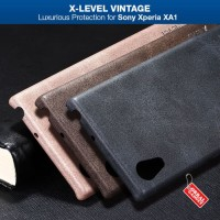 Hard Softcase PU Leather Vintage X-Level Cover Casing Sony Xperia XA1
