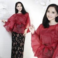 baju kebaya modern Batorza organza set + rok plisket+ manset