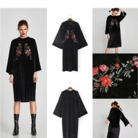 na791- baju terusan wanita dress imporrt hitam lengan lebar