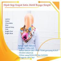 Jilbab Hijab Kerudung segi empat 4 satin motif bunga simple pesta