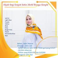Hijab Jilbab Kerudung Segi Empat 4 Satin Motif Bunga Simple Pesta