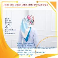 Kerudung Hijab Jilbab segi empat 4 satin motif bunga simple pesta