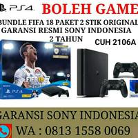 PS4 Slim 500GB Bundle FIFA 18 Garansi Resmi Sony +2 Stik PS4 Original