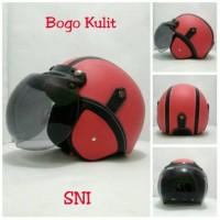 Helm Bogo Retro SNI Kulit Classic Merah Hitam + Kaca Bogo Ori Helm Ret