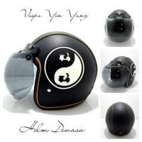 Helm Bogo Sni Vespa Ying Yang Kaca Bogo Gelap Dijual Helm Retro