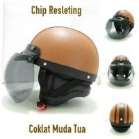 Helm Bogl Retro Chip Resleting Coklat Muda Tua Kaca Bogo Ori Helm Retr