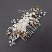 B_035 Wedding hairpiece sirkam bride hiasan rambut haircomb gold