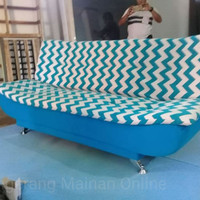 Sale Murah Tangerang Sofa Bed Pillow Biru Salur
