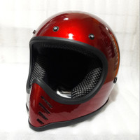 Helm Cakil Replika Moto3 Trail Helm Full face Cross Merah Glossy